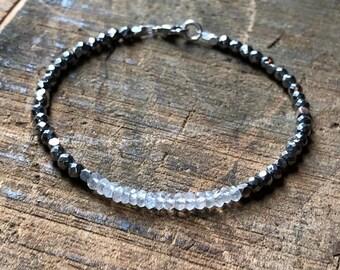 Rainbow Moonstone & Silver Pyrite Ombré Bracelet