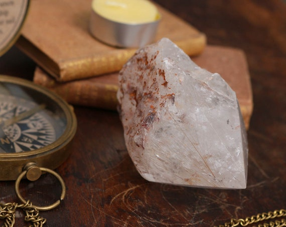 "Gold Rutilated Clear Quartz Crystal Point, 3.5"" Tall"