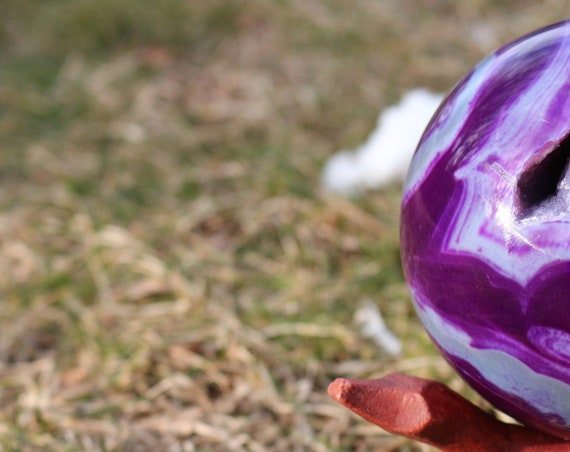 XL Purple Agate Sphere, Banded Agate Druzy Sphere