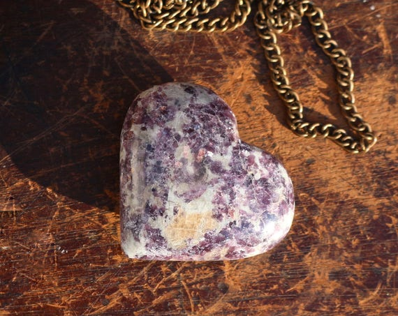 Lepidolite Heart Shaped Crystal, Polished Lepidolite, Heart Shaped Purple Crystal, Carved Lepidolite Heart, Healing Crystal, Gifts for Her