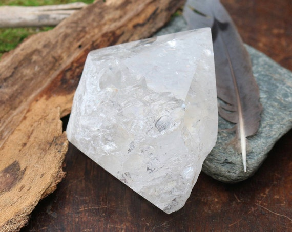 Clear Quartz Crystal Point, Clear as Glass & Filled with Rainbows!