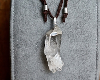 For Him and Her ~ Clear Quartz Point on Leather Sliding Knot Necklace