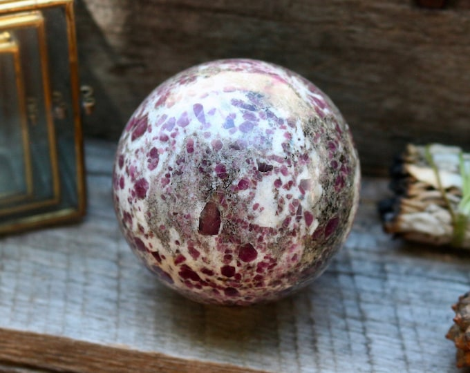 Featured listing image: HUGE Ruby in Granite Sphere 70mm ~UV LIGHT Reactive!
