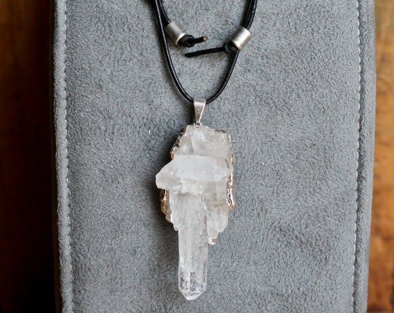 Sparkly Clear Quartz Cluster Pendant Necklace, Black Leather Sliding Knot Necklace, Unisex Gift
