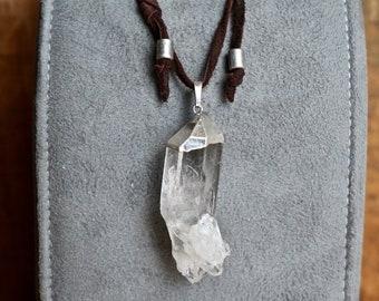 Sparkling Clear Quartz Cluster Pendant Necklace, Leather Sliding Knot Necklace, Unisex
