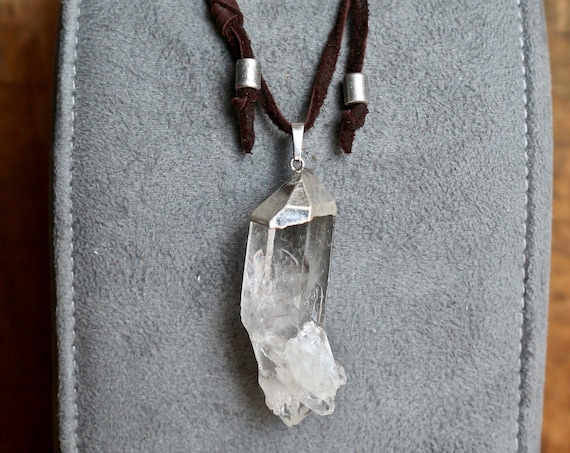 Sparkling Clear Quartz Cluster Pendant Necklace, Leather Sliding Knot Necklace, Unisex