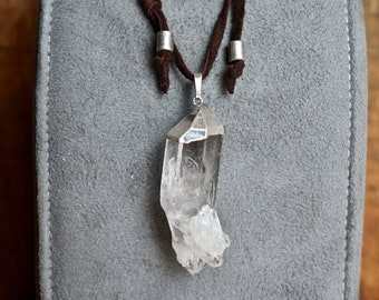 XL Clear Quartz Cluster Pendant Necklace on Dark Brown Deer Suede Sliding Knot Cord