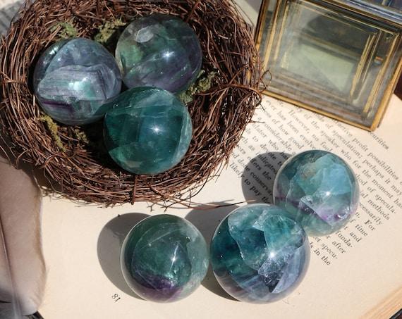 Fluorite Sphere 40mm, Small Fluorite Sphere, Purple and Green Fluorite, Magic Crystal Ball, Fluorite Orb, Unisex Gift, Stocking Stuffer