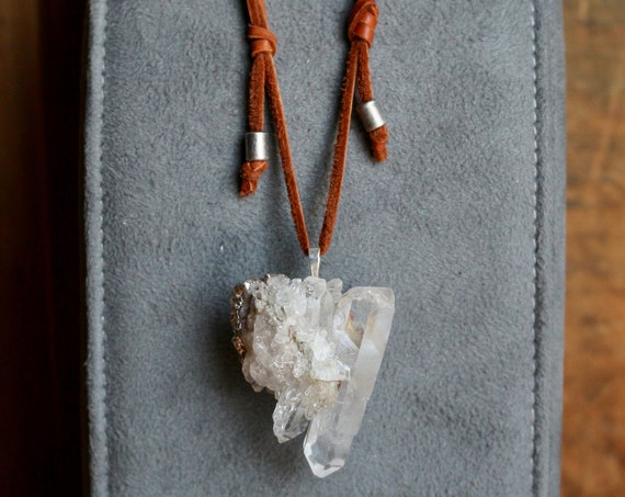 XL Clear Quartz Cluster Pendant Necklace on Leather Sliding Knot Cord
