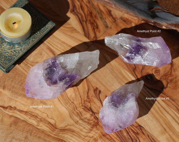 Natural Uruguayan Amethyst Points, Choice of 3, Pocket Sized Amethyst, Natural Amethyst Point, Purple Crystal Point, Amethyst Talisman