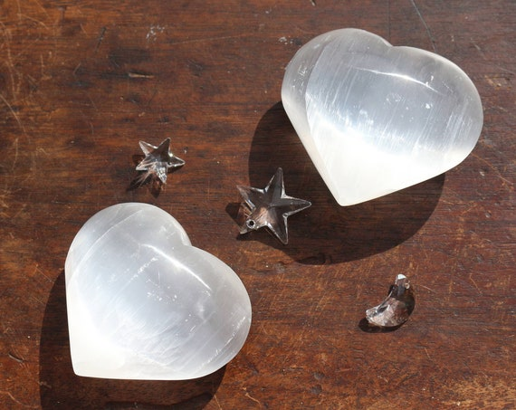 Large White Puffy Selenite Hearts