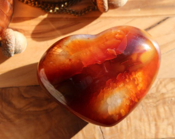 """Large Carnelian Heart 4"""", Heart Shaped Carnelian, Polished Carnelian Heart, Large Red Crystal Heart, Puffy Carnelian Heart, Valentines"""