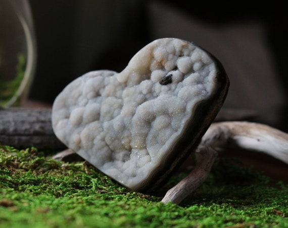 "3"" Wide Agate Druzy Heart, Sparkly Druzy Covered Agate"