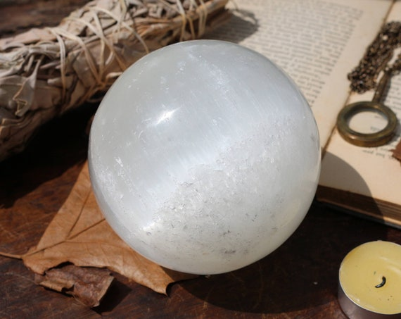 Extra Large Selenite Sphere ~ 2.6 lbs.
