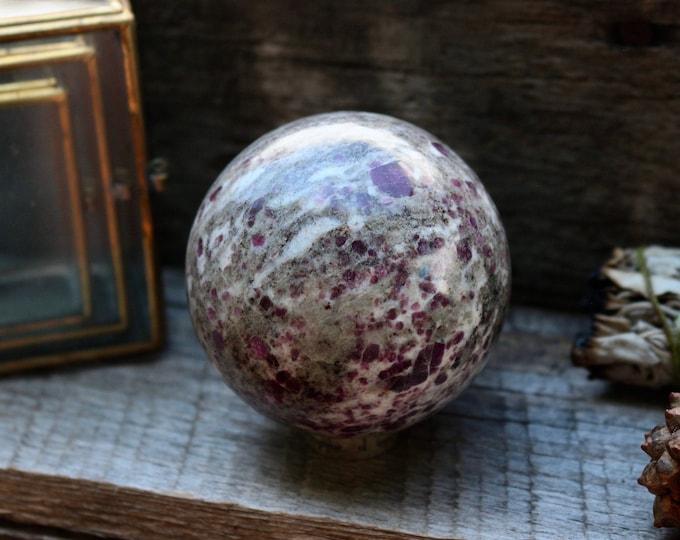 Large Ruby in Granite Sphere 66mm ~ UV LIGHT Reactive!