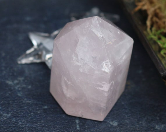 Large Light Pink Rose Quartz Fully Polished Point 2.6""