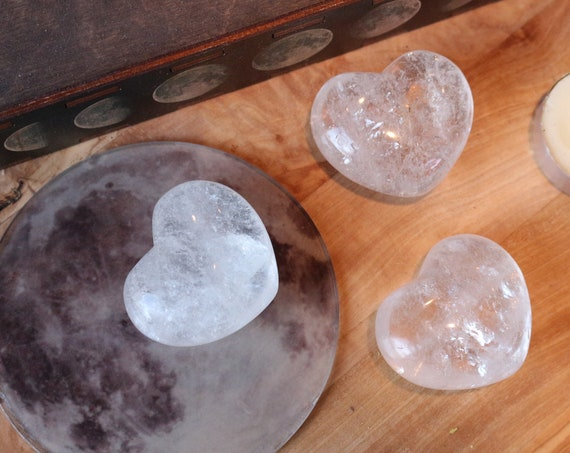 Medium Clear Quartz Heart Shaped Stones, Milky Quartz Heart, Polished Clear Quartz, Heart Shaped Quartz, Puffy Crystal Heart, Talisman