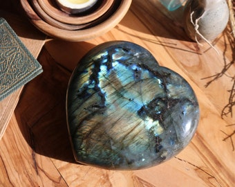 Large Flashy Labradorite Heart ~ 1.27 lbs