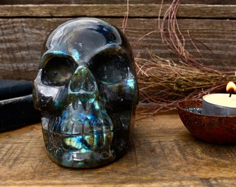 Large Hand-Carved Solid Labradorite Skull ~ Full of Flash!