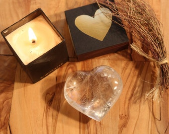 Clear Quartz Crystal Heart 2.5 inches wide