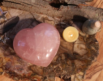 "XL Rose Quartz Heart Shaped Stone 4.5"" in diameter!"