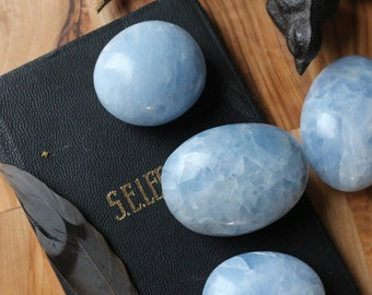 Blue Calcite Palm Stones