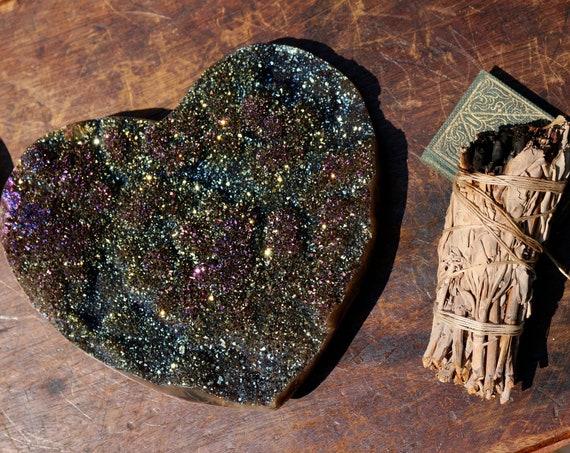 Huge Titanium Aura Amethyst Heart ~ Rainbow Quartz Heart