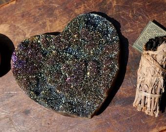 XL Titanium Aura Amethyst Heart ~ 3.5 lbs!