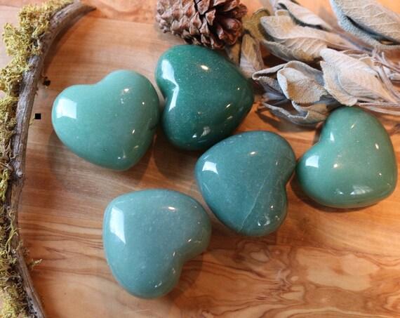Extra Puffy Green Aventurine Heart Shaped Stones