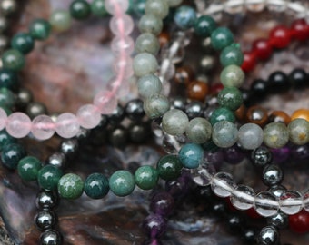 Crystal Chakra Bracelets ~ Rose Quartz, Amethyst, Rainbow Moonstone and more! Buy 4, get 1 Free!