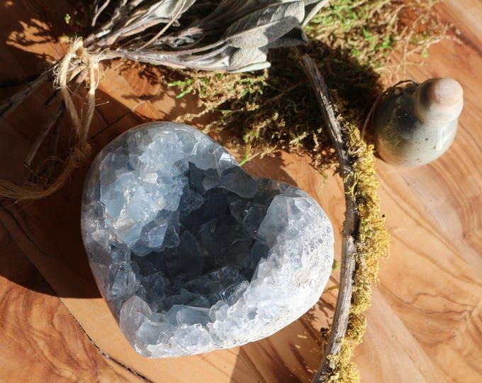 Featured listing image: Celestite Geode Heart 2 lbs., Celestite Geode Heart, Celestine Cluster, Heart Shaped Celestine, Large Blue Crystal Cluster, Valentines Day