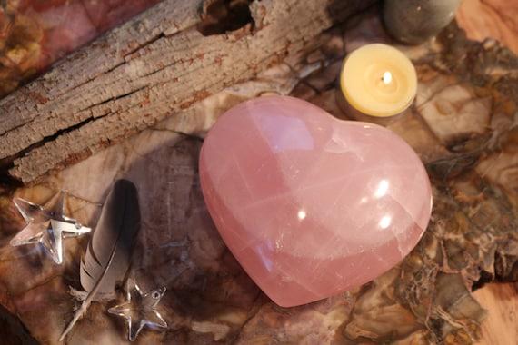"Extra Large, Puffy Rose Quartz Heart Shaped Stone 4.5"" wide!"