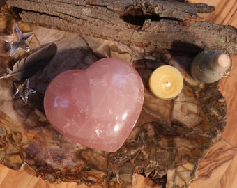 XL Rose Quartz Heart Shaped Stone 4.5""