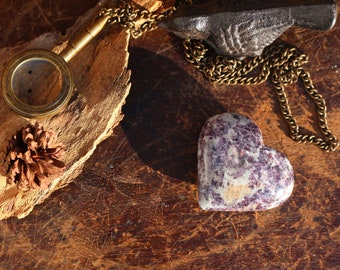 Lepidolite Heart ~ Sparkly Purple and Silver Carved Stone