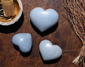 Angelite Hearts / Heart Shaped Angelite / Anhydrite Heart / Pocket Sized Angelite Heart / Blue Crystal Heart / Blue Heart Stone