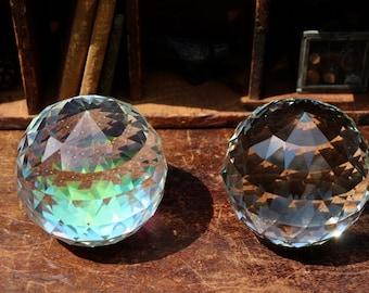Large Faceted Crystal Ball 2.10 lbs ~ Aura Borealis