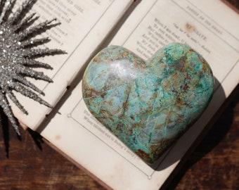 Puffy Malachite Chrysocolla & Azurite Heart ~ Mother's Day!