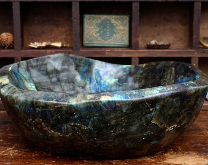 Featured listing image: Solid Labradorite Bowl 17.5 lbs.