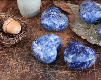 Blue Sodalite Hearts ~ Gorgeous Blue Color!