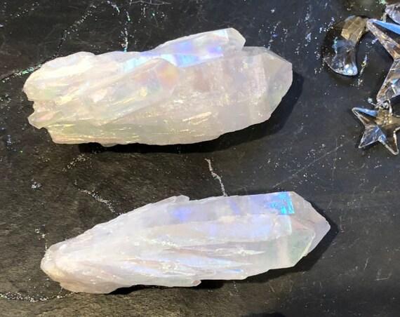 Large Angel Aura Quartz Point Clusters, Angel Aura Raw Crystal Points, Large Aura Crystal Points, Metaphysical Crystal, Meditation Stone