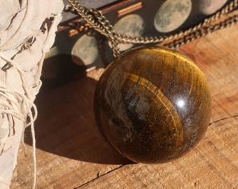 Large Tiger's Eye Sphere, Tigers Eye Crystal Ball, Polished Tiger's Eye, Gold Sphere, Crystal Ball, Chakra Sphere, Stocking Stuffer