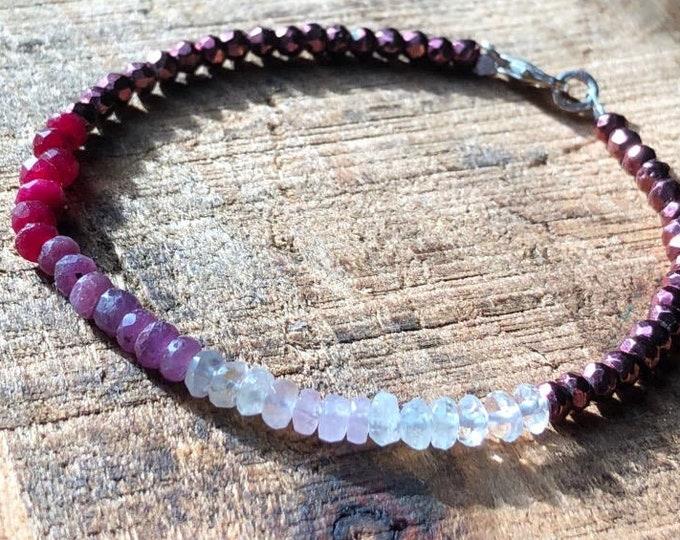 Heart Chakra Ombré Gemstone Bracelet