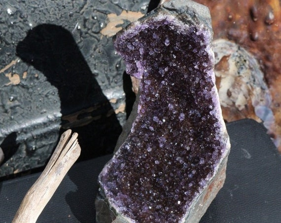 Tall Black Amethyst Geode covered in Sparkly Druzy, Black Druzy Amethyst, Raw Amethyst Cluster, Standing Black Amethyst, Collector's Crystal