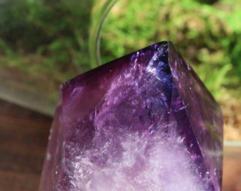 "Black Amethyst Point 2.25"", Polished Black Amethyst, Standing Amethyst, Raw Amethyst Point, Purple Crystal Point, Crystal Grid, Reiki,"