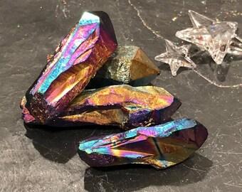Rainbow Titanium Aura Quartz Points