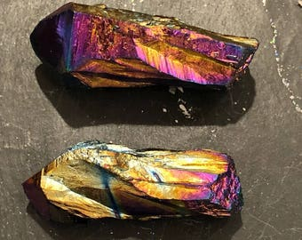 Rainbow Titanium Aura Quartz Points