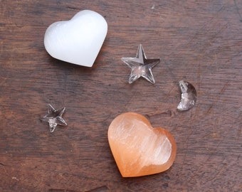 Orange Selenite Hearts | White Selenite Hearts