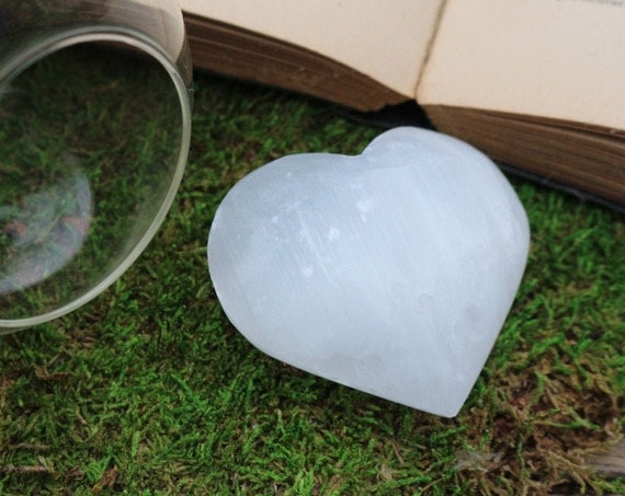 Large White Selenite Hearts ~ EMF Crystal