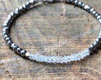 Rainbow Moonstone & Silver Pyrite Ombré Bracelet, Polished Rainbow Moonstone, Silver Pyrite Bead, Crystal Healing Bracelet, Female Energy