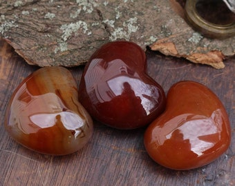 Palm-sized Carnelian Hearts